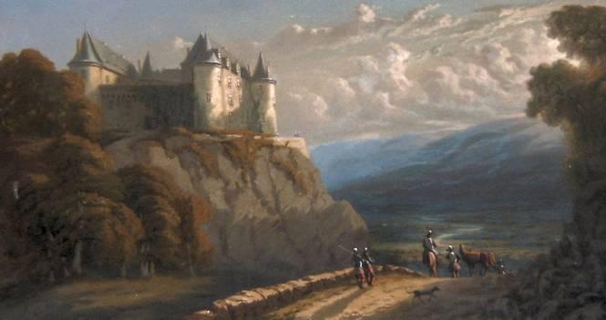 Peinture du château de Savignac-Lédrier sorti de l'imaginaire d'Ernest de Lubersac (1812-1890), sur un trumeau du château de Verdier à Lubersac en Corrèze (c) Phot. P Thibaud ; CD24