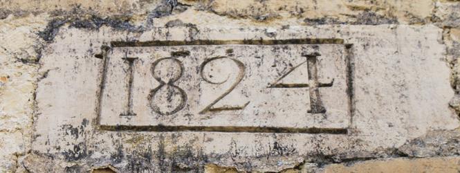 Cliquer pour agrandir la photo de la date de construction de la halle à charbon  © Conservation du patrimoine départemental, 2012; CD24