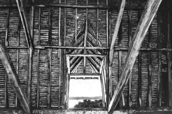Cliquer pour agrandir : Lucarne desservant l'air de stockage de la halle à charbon ; 1980 (c) Phot. : Ph. Lair ; Fonds ASFSL, série 114J, AD24