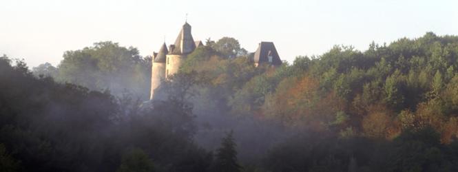 Cliquer pour agrandir la photo du château de Savignac-Lédrier; © phot: Alain Devise, 2003; CG24